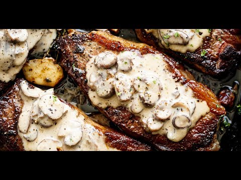 Garlic Butter Steak & Creamy Mushroom Sauce