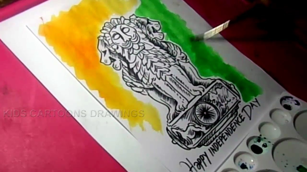 How to draw independence day greeting with ashoka pillar detailed drawing for kids