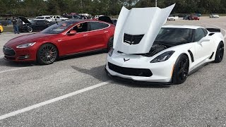 2015 Tesla P90D Ludicrous vs 2015 Corvette Z06 Drag Racing 1/4 Mile