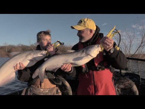 Catching catfish with kids in a winter flood!