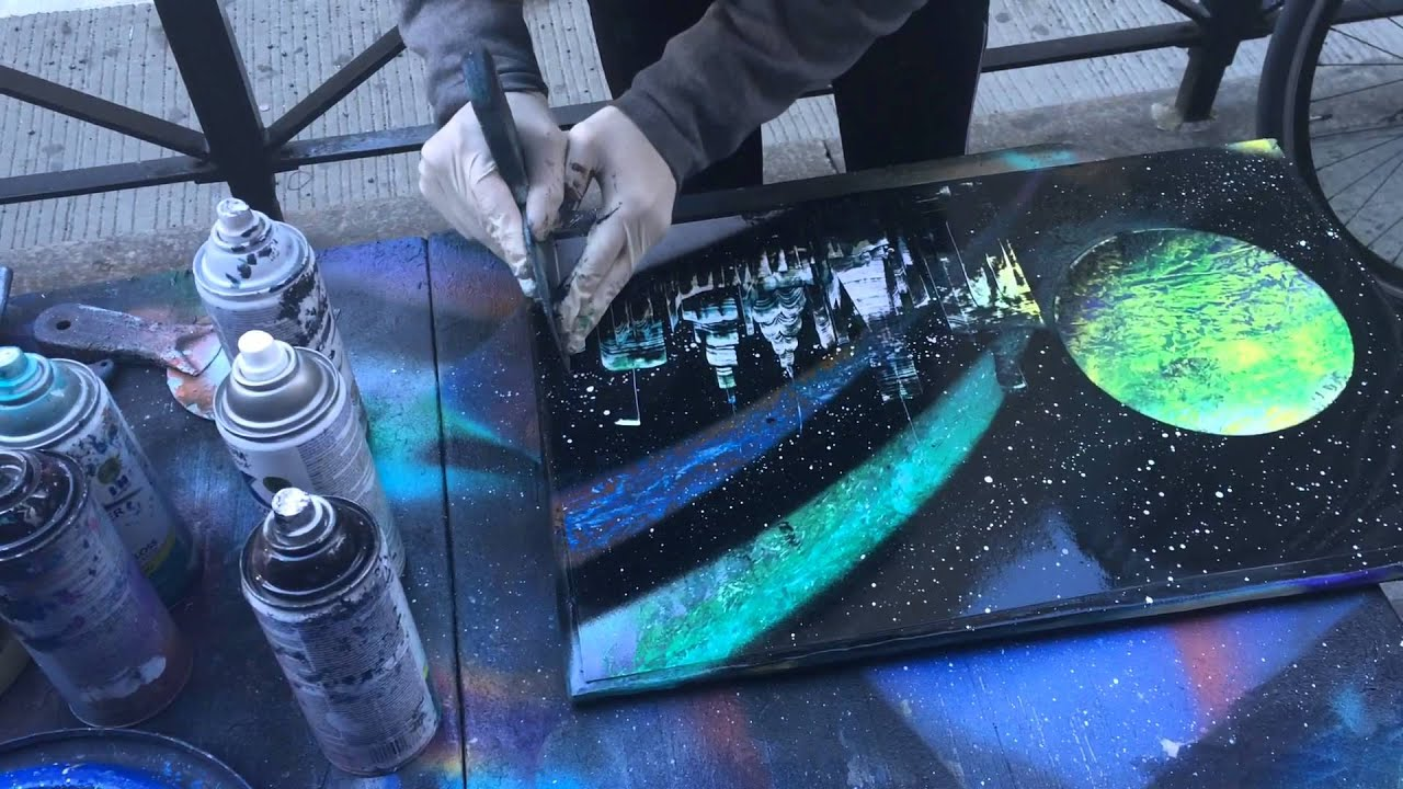 amazing spray paint art in new york city youtube. Black Bedroom Furniture Sets. Home Design Ideas