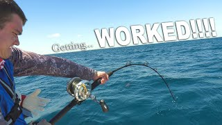 Famous YouTuber gets WORKED by MASSIVE Fish! {Catch Clean Cook} fresh fish over open fire!