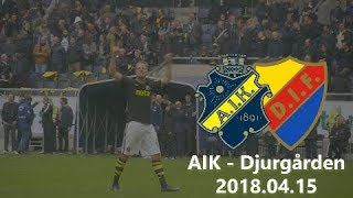 AIK - Djurgården 2-0 (2018.04.15) Derby, Tifo, Pyro