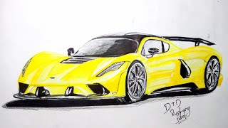 How to Draw Hennessey Venom F5 2018 Easily