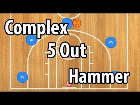 Complex Double Hammer 5 Out Basketball Play