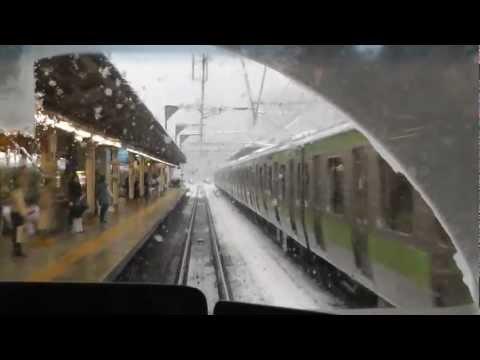 雪の東京 山手線の外回りで一周 東急東横線立体交差 Snow in Tokyo (bomb cyclone)  around the Yamanote Line