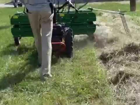 BCS walk-behind tractor and MOLON 5-foot hayrake/tedder