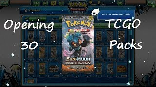 Opening 30 Burning Shadows Pokemon TCGO Booster Packs+ Giveaway