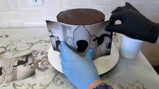 Как сделать торт с высоким ярусом 😆/ высокий торт в домашних условиях😍/ выравниваю торт ганашом