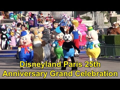 Disneyland Paris 25th Anniversary FULL Grand Celebration April 12th, 2017 with RARE Characters!