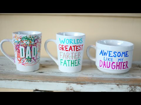 Diy Custom Personalized Mugs With Sharpies Fathers Day Gift Idea Youtube