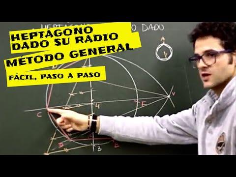 Geom  plana, heptágono de radio dado metodo general