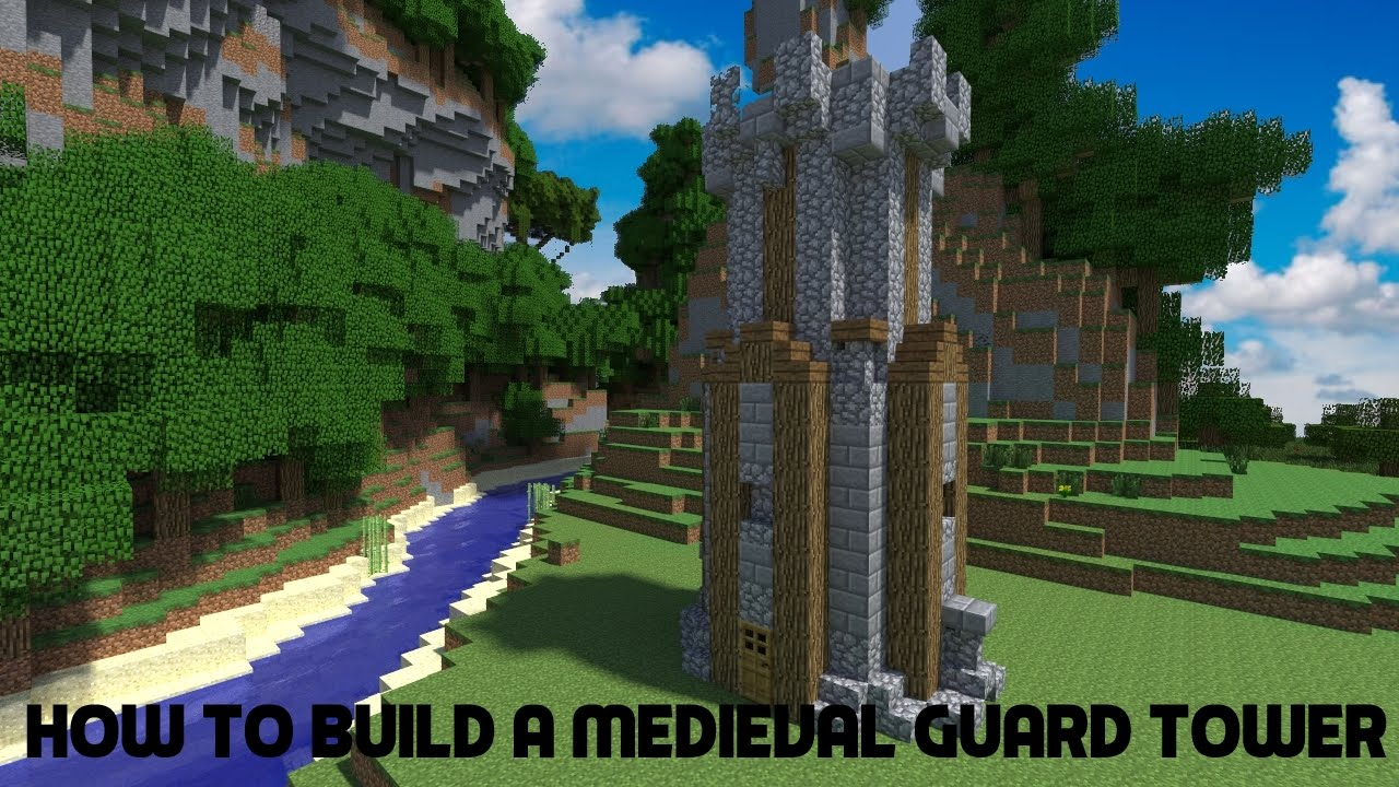 minecraft tutorial how to build a medieval guard tower youtube. Black Bedroom Furniture Sets. Home Design Ideas