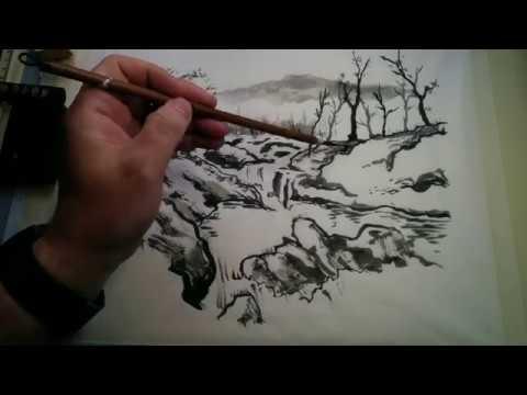 Japanese sumi-e landscape painting scene