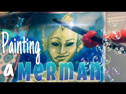 Merman Watercolor Painting Demo |  Fantasy Art Character