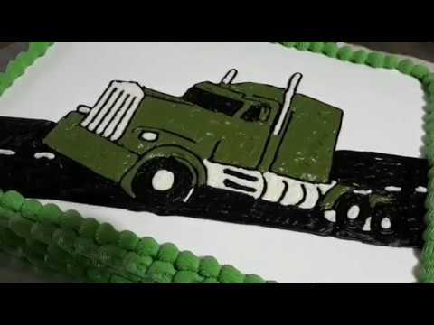 how to make a tractor trailer cake