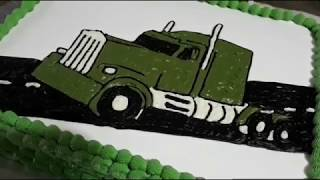 How to draw a picture on a cake - Tractor Trailer Truck Birthday cake