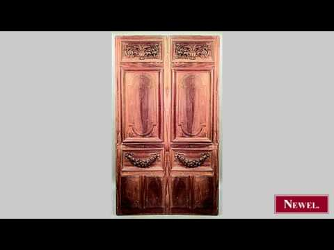 Antique Pair of French Victorian stripped doors with carved
