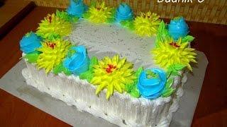 Украшение торта белково-заварным кремом КРЕМОВЫЕ ТОРТЫ Cake Decorating