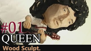 【Wood Carving】 QUEEN-Brian May(Live Aid 1985) ブライアン・メイ作成[Make a figure doll]