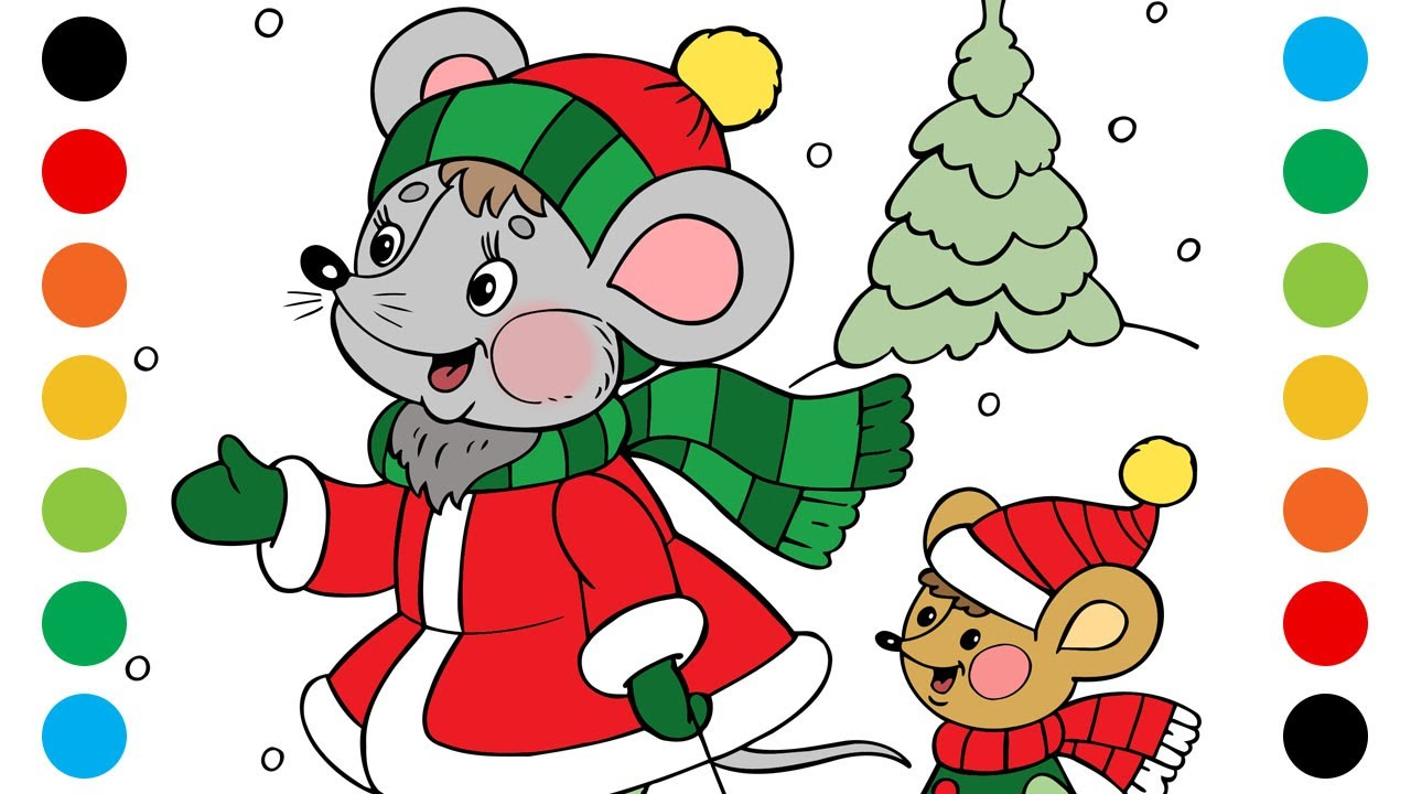 Mouse with a Mouse with a sled Coloring Pages for Kids | Digital Coloring