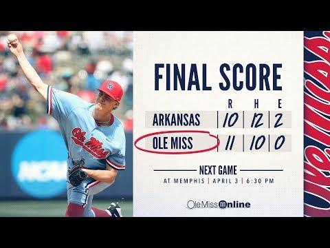 HIGHLIGHTS   Ole Miss defeats Arkansas 11 - 10 (03/31/18) #WAOM #FinsUpRebels