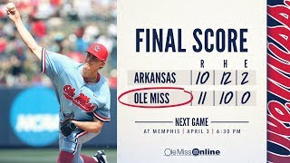 HIGHLIGHTS | Ole Miss defeats Arkansas 11 - 10 (03/31/18) #WAOM #FinsUpRebels