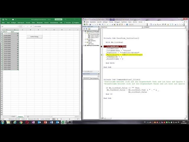 0043. Excel-VBA: Ein mehrspaltiges Listenfeld programmieren