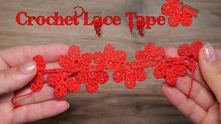 Кружево из листиков крючком / Crochet Lace Tape