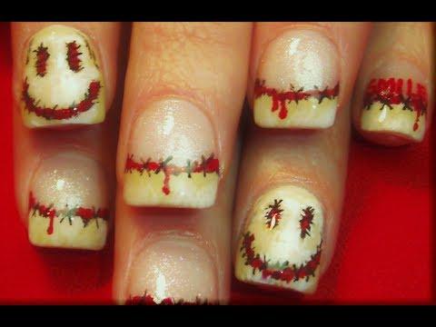 Smiley The Movie Nail Art Design Horror Film Nails Tutorial Youtube