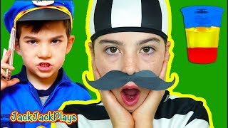 Costume Pretend Play Police Skit + Kids Color Science Experiment