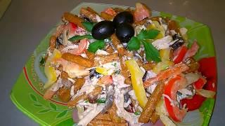 Праздничный Салат с  Курицей, сухариками и грибами/Пошаговый рецепт салата.