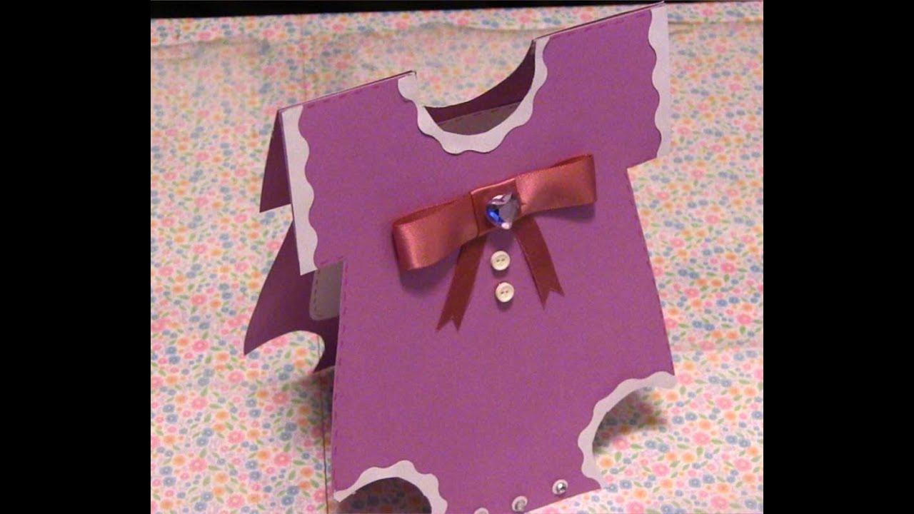 3c195a6654cbc Invitaciones para Baby Shower muy faciles de hacer (Trajecito) - YouTube