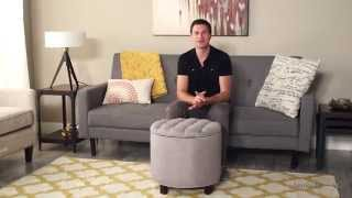 Belham Living Noelle Tufted Ottoman – Gray - Product Review Video