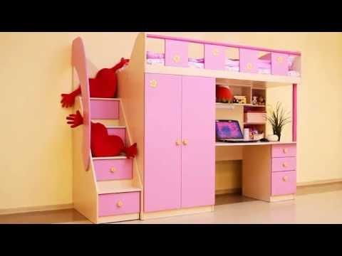 Детская Кровать Чердак Пикник розовый Сканд Мебель