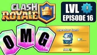 Clash Royale LVL 1 EP 16: NEW LEGENDARY chest opening and new record