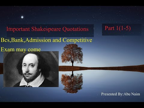 Important Quotations Of William Shakespeare quotes part 1(1-5)