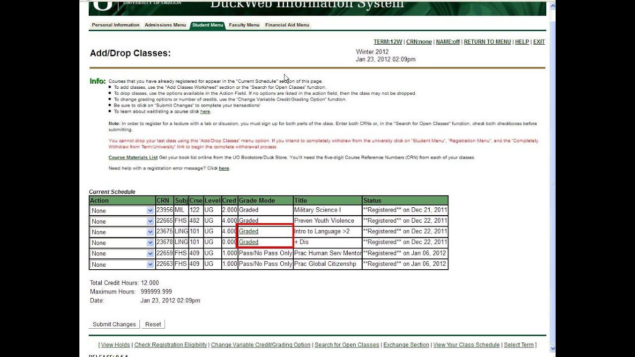 hight resolution of University of Oregon Grading System   Office of the Registrar