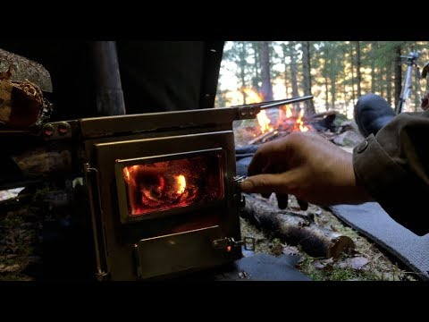 Solo Winter Bushcraft Camping - Nomad Wood Stove, Canvas Tent , Campfire  Cooking, Meatballs