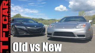 2017 Acura NSX vs 2005 NSX On Road & On Track Old vs New Mashup Review