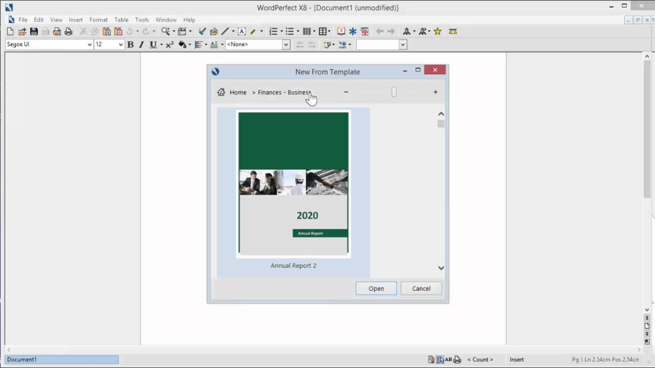 WordPerfect X8 Template Viewing