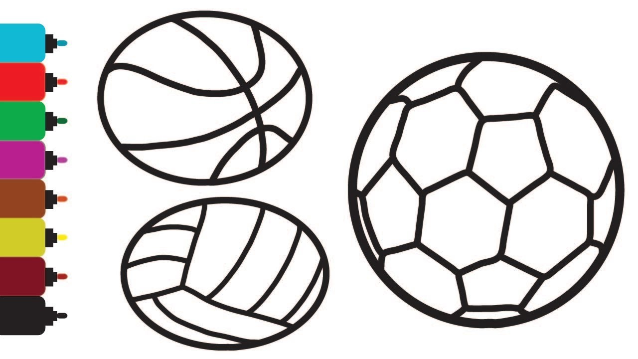 Glitter Sport Balls coloring and drawing for Kids ...