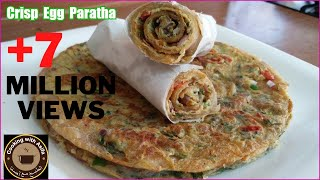 Crispy egg paratha recipe | homemade restaurant-style flaky layered egg paratha roll-anda paratha- thumbnail