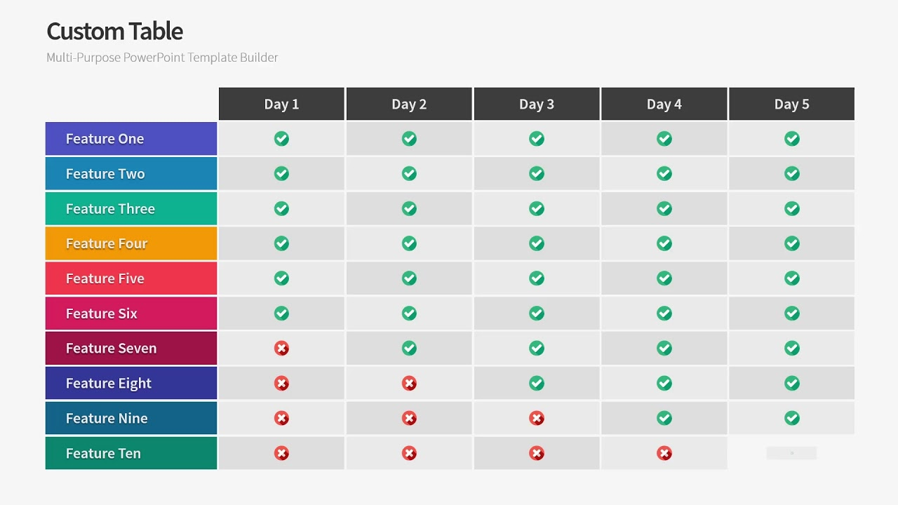 Tables Powerpoint Template A Warna Slides Youtube