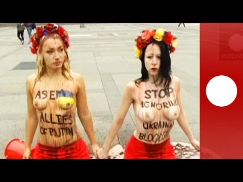 Topless against Putin: Femen activists protest in Italy ahead of Russia-Ukraine talks