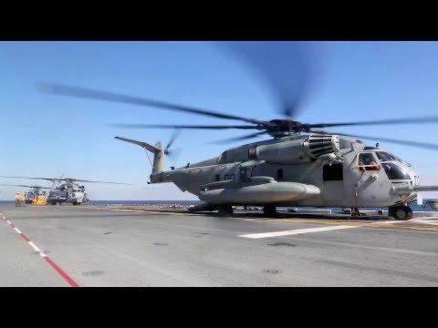 MH-60S Seahawk, CH-53E Super Stallion. Flight Operations Aboard USS Kearsarge.