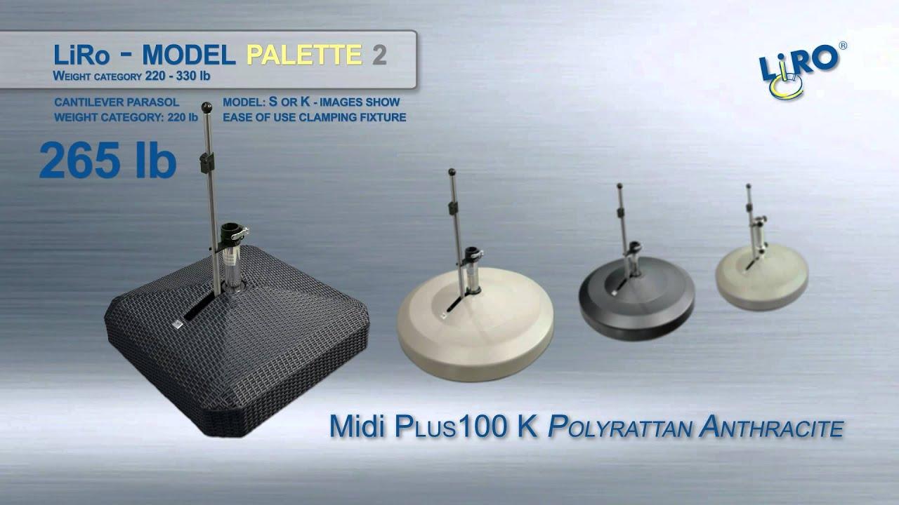 Liro Mobile Umbrella Base Full Product Line 77lbs 330lbs