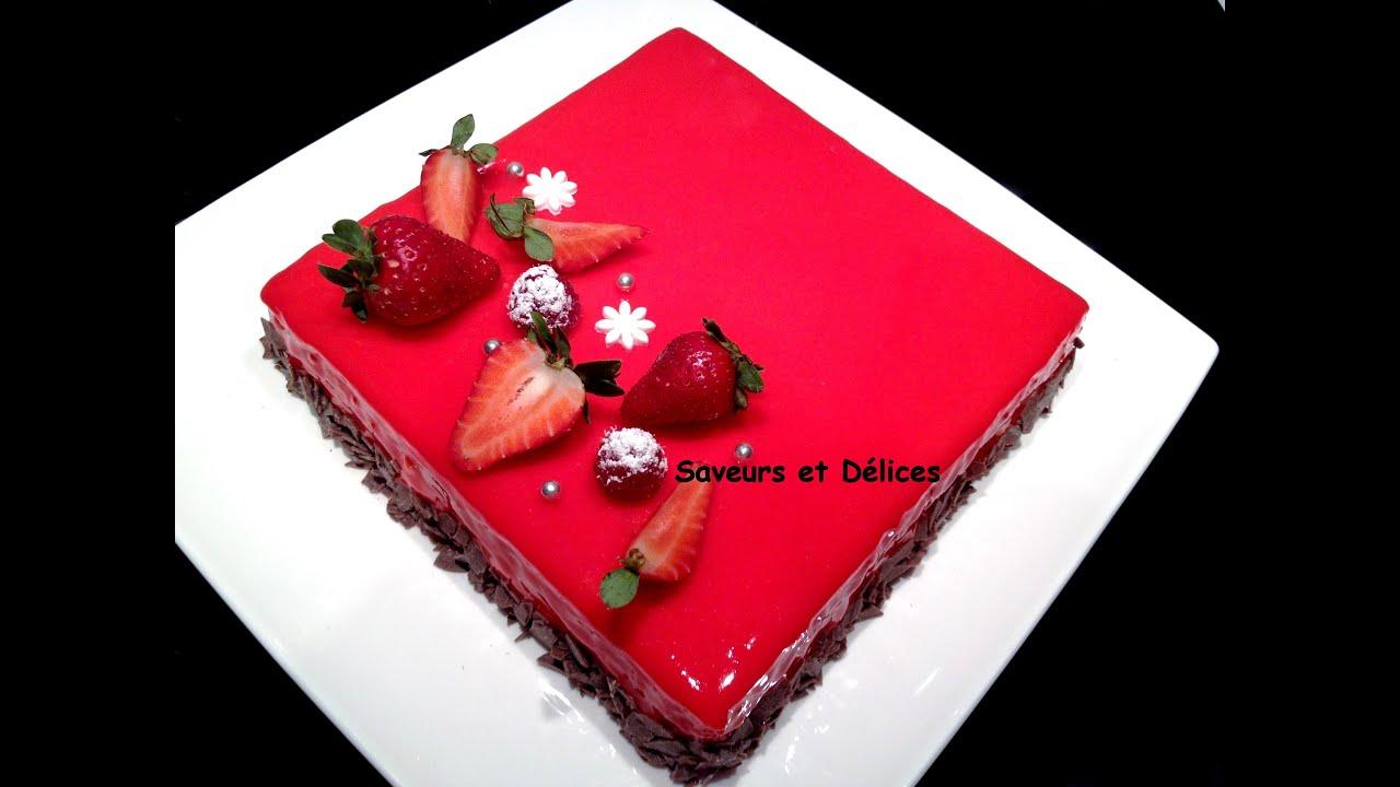 G teau fraise au gla age miroir for Glacage miroir fraise