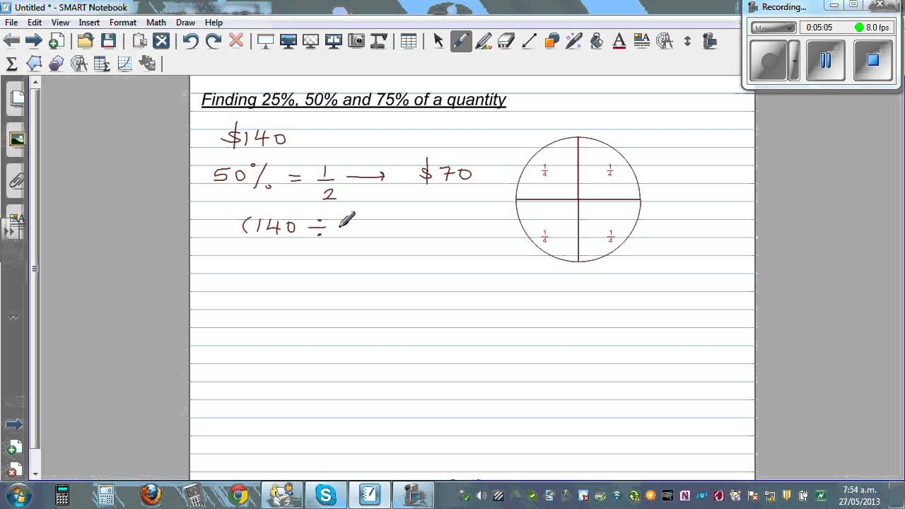 how to find a percentage from a quanty