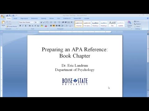 APA Reference Format For A Book Chapter -- 6th Ed. APA Publication Manual (2010) Style Formatting